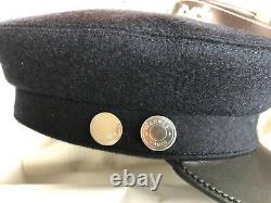 100% Authentic Hermes Paris Black Vauban Wool Cap Marine Noir Size 56 New Box