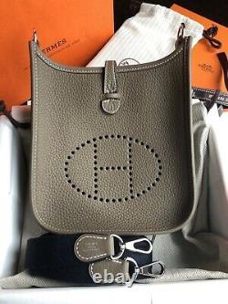 100% Authentic Hermes Paris Evelyne 16 TPM Etoupe Strap Bleu Indigo NEW with BOX