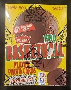 1990 Fleer Basketball Wax Box Bbce Fasc From A Sealed Case Mj Psa 10
