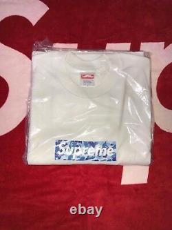 2002 Supreme x Bape Blue ABC Camo Box logo T shirt Size Large DS New Authentic