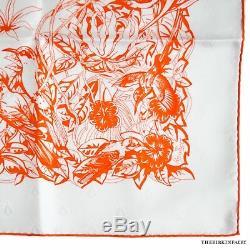 AUTHENTIC HERMES Tatonage Jungle Love Blanc/Orange Jacquard 90cm Scarf/Box NEW