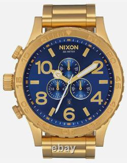 AUTHENTIC Nixon 51-30 Chrono All Gold Blue Sunray A0832735 (FEDEX 2 DAY)