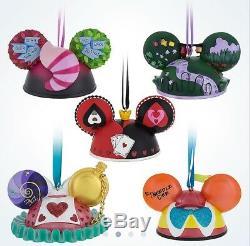 Alice In Wonderland Mickey Ear Hat Ornament Box Set of 5 NEW Authentic Disney