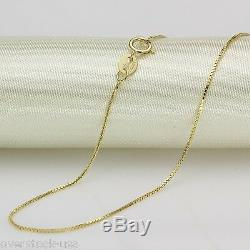 Authentic 18INCH Solid 18K Yellow Gold Necklace 0.7mm Box link Chain Necklace