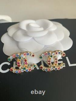 Authentic Chanel CC Multi Coloured Gold Crystal Earrings Fall 2020 New Boxed