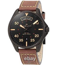 Authentic Hamilton Khaki Aviation Pilot Brown Leather Men's Watch H64605531