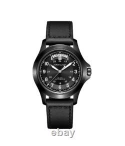 Authentic Hamilton Khaki Field King Black Dial & Leather Men's Watch H64465733