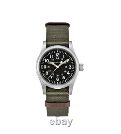 Authentic Hamilton Khaki Field Mechanical Black Dial Nylon Men's Watch H69439931