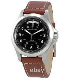 Authentic Hamilton Khaki King Black Dial Brown Leather Men's Watch H64455533