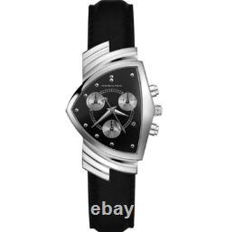 Authentic Hamilton Ventura Chrono Quartz Black Leather Men's Watch H24412732