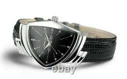 Authentic Hamilton Ventura Quartz Black Dial Leather Men's Watch H24411732