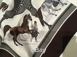 Authentic Hermes silk scarf New+Box+Ribbon, CHEVAUX ARABES, Grygkar, 90cm