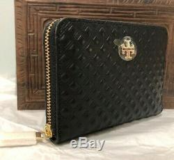Authentic New Tory Burch Marion Embossed Leather Coin Key Zip Wallet Black +Box