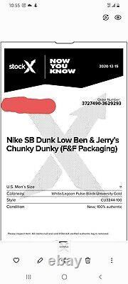 Authentic Nike SB Dunk Low Ben & Jerrys Chunky Dunky Size 11 (Special Box)