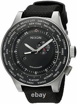 Authentic Nixon Passport Swiss GMT World-Time 49-MM Black Strap Watch A321000-00
