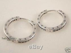 Authentic PANDORA SIGNATURE Silver LOGO HOOPS Earrings 290558CZ NEW with BOX