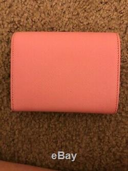 Authentic PRADA Pink Saffiano Leather Trifold Wallet Purse New W Box