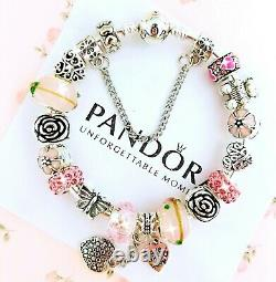 Authentic Pandora Charm Bracelet Silver with Pink LOVE HEART European Charms