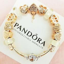 Authentic Pandora Charm Silver Bracelet w. LOVE STORY Rose Gold European Charms