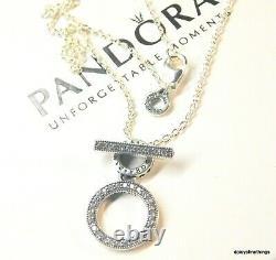 Authentic Pandora Silver Double Hoop T-bar Necklace #399039c01 Hinge Box