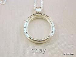 Authentic Pandora Silver Floating Locket Large #590530-75 Hinge Box