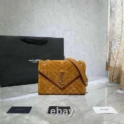 Authentic SAINT LAURENT Envelope medium quilted suede shoulder bag With Box