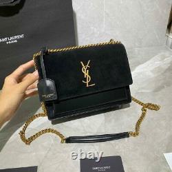 Authentic Saint Laurent Small Sunset Monogram Velvet Shoulder Bag With Box