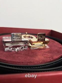 Authentic Salvatore Ferragamo Gancini Reversible Belt Boxed Set Size 34 36 NWT