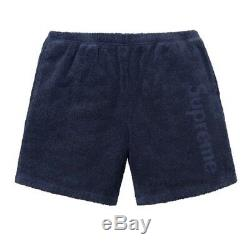 Authentic Supreme Terry Logo Shorts Navy Blue XLarge XL NWT Ready To Ship Box