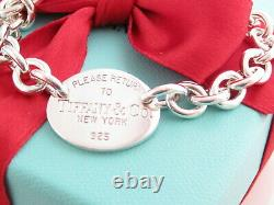 Authentic Tiffany & Co Silver 925 Oval Please Return To Bracelet 7.5 Box