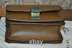 Authentic Women's CELINE Classic Box Camel Calf Leather Small Shoulder Bag