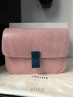 Celine Classic Box Bag Medium Lizard Exotic Lether Authentic 100% Handbag