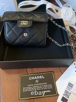 Chanel New In Box 20B Classic Flap Caviar Micro Bag 100% authentic