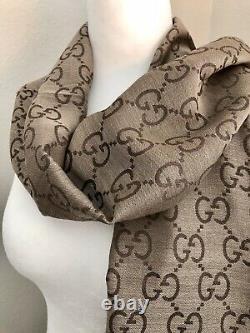 GUCCI Rope Scarf Dark Brown Wool Silk AUTHENTIC 70L X 18W Gift Box NWT