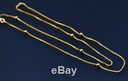 Genuine 22 K Yellow Gold Handmade Box Chain With Ball Necklace Unisex Jewelry