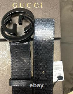 Gucci Belt Authentic Black Imprime size-115 cm fits 40-42 waist, New w-Tag In Box