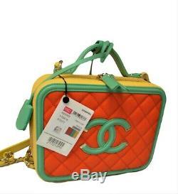 NEW Authentic CHANEL Multicolor Mini Filigree Vanity Case Box Bag