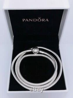 NEW Authentic PANDORA 925 Silver Moment Logo Snake Chain Necklace 590742HV 45 50