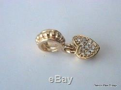 NEWithTAGS AUTHENTIC PANDORA CHARM 14K PAVE HEART With DIAMONDS #750809D HINGED BOX
