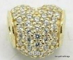 NEWithTAGS AUTHENTIC PANDORA CHARM 14K PAVE HEART WithCZ'S #750828CZ HINGED BOX