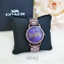 NWB 14502923 AUTHENTIC Coach Purple Dial Watch Grand Stainless Steel Bracelet