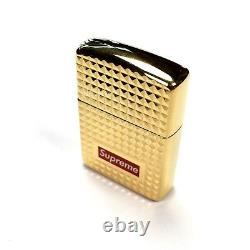 NWT Supreme NY Zippo Red Box Logo Gold Diamond Cut Lighter FW17 DS AUTHENTIC