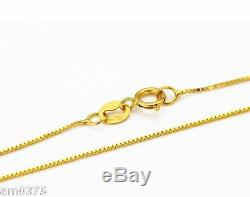 New Authentic 18K Yellow Gold Necklace Elegant Box Link Chain Necklace/ 16inch
