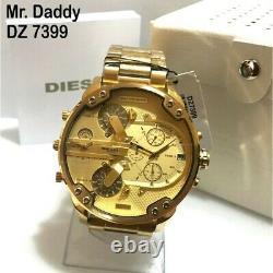 New Authentic Diesel Dz7399 Mr Big Daddy 2.0 Yellow Gold Steel Mens Watch Gift
