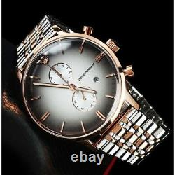 New Authentic Emporio Armani Ar1721 Mens Watch Grey Dial Two Tone Steel Fashion