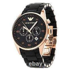 New Authentic Emporio Armani Ar5905 Rose Gold Silicone Mens Watch Uk Stock