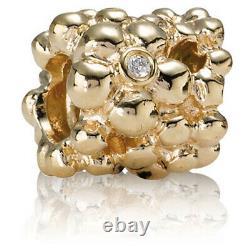 New Authentic Pandora 14k Gold Diamond Daisy Flower Charm 750344D Pouch & Box
