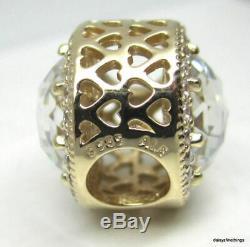 New! Authentic Pandora Charm 14k Radiant Hearts #750843cz Hinged Box