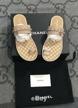 New In Box 100% Authentic Chanel Thong Sandals Calfskin Sz 42 Us 11