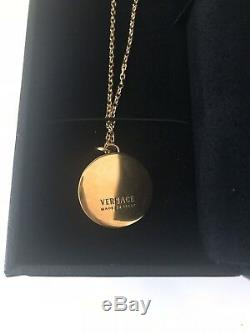 New In Box Authentic VERSACE Gold Plated Metal Medusa Necklace Pendant Italy